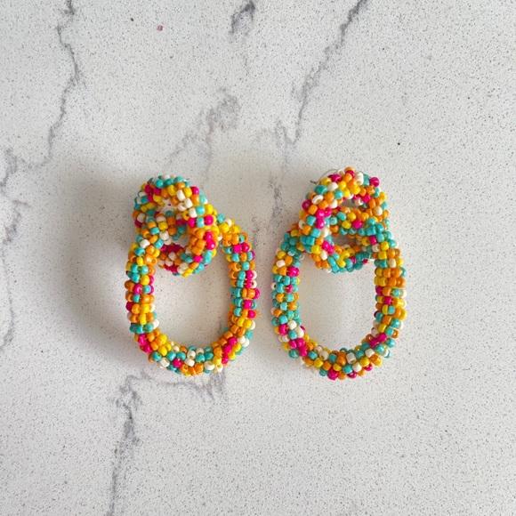 Bright and Fun Beaded Hoop Stud Earrings